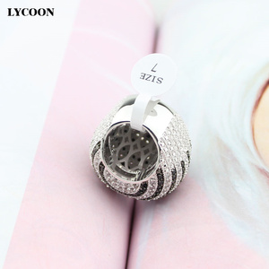 Image 3 - LYCOON ברמה הכי חדש לבן ושחור CZ פס טבעות כסף מצופה גדול טבעות יוקרה נשים מעוקב zirconia טבעת כדור צורה