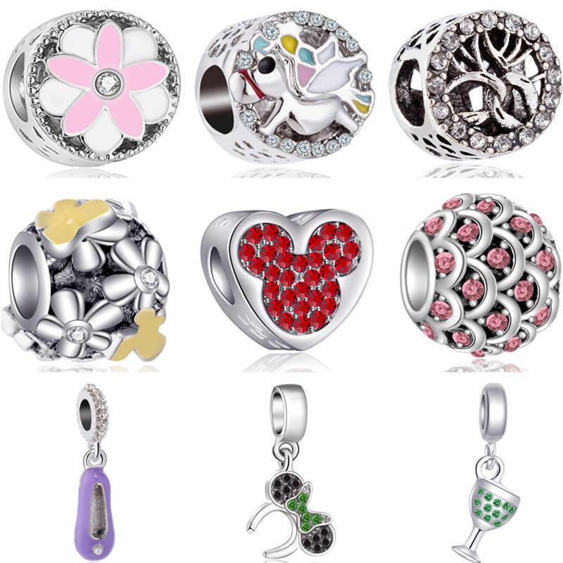Estrelas De Vidro Da Liga do vintage Árvore Pássaro Flores Sapato Mickey Mouse Contas Encantos Fit Pulseiras Pandora Originais para As Mulheres Do Partido DIY