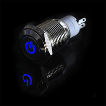 цена на Universal 12V 3A 16mm LED Power Button Switch Push ON/OFF for Car Boat Waterproof Stainless Steel Blue