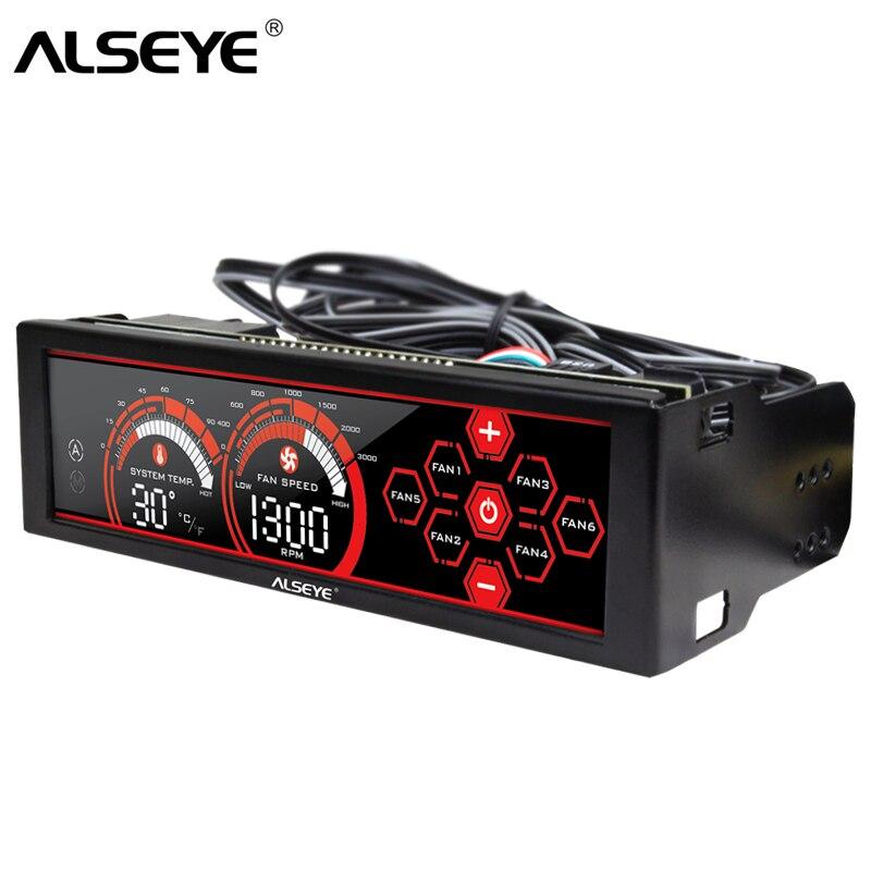 ALSEYE a-100L (R) Controlador de velocidad del abanicos 6 canales de ventiladores de refrigeración de agua, panel de control del ventilador del ventilador de la CPU, pantalla táctil LCD