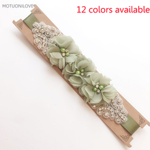12 Color Available 2019 Summer Fashion Wedding Flower Bridal Belt Pearls Beaded Handmade Chiffon Sashes for Partys