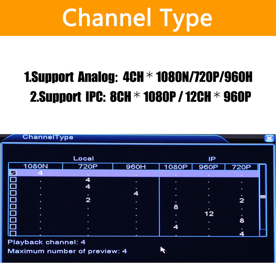 5in1 4ch * 1080N AHD DVR Überwachung Sicherheit CCTV Video Recorder DVR Hybrid DVR Für 720 P/960 H analog AHD CVI TVI IP kamera XMEYE