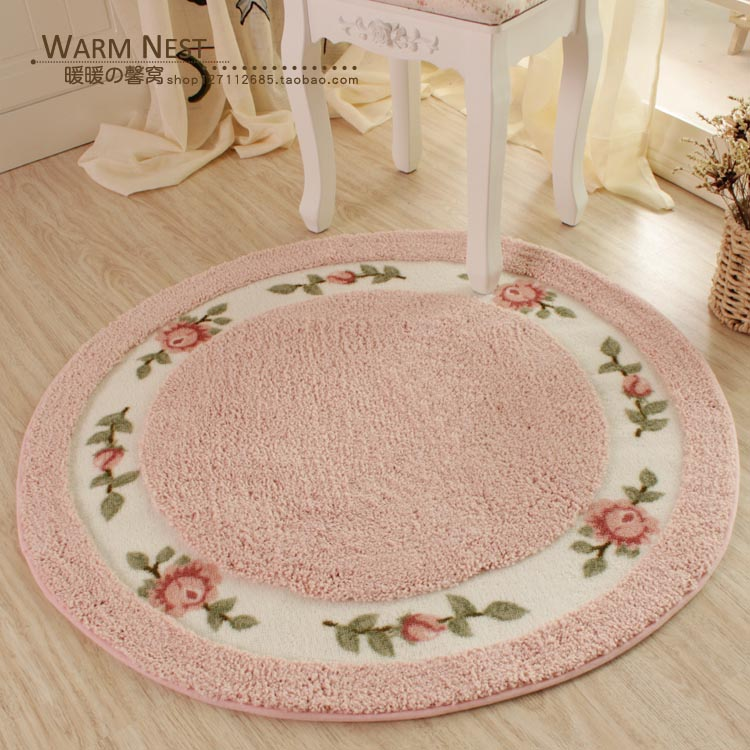 HUAMAO Pastoral Flower Doormat Soft Plush Round Rotating Chair Floor Mat Modern Bathroom Carpet Children Play Mat/Rugs