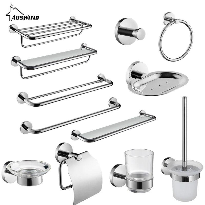Chrome Silver SUS 304 Stainless Steel Bathroom Hardware Set Paper Holder Bathroom Accessories Toilet Brushed Holder Towel Bar