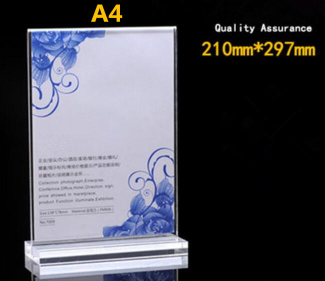 T type acrylic poster tag list menu holder clear double-sided display desk sign frame KTV hotel restaurant table label rack