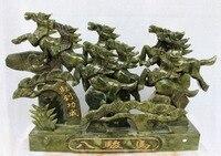 Украшения дома ремесел 16 Китайский зеленый нефрит Бег успешной Детская безопасность 8 лошадей Лошади животных статуя подарок