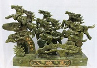 home decoration Crafts 16 Chinese Green Jade Running Successful Safety 8 Horse Horses Animal Statue gift