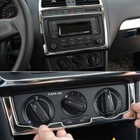 2017 Aço Inoxidável Estilo Do Carro Interior do painel de Ar condicionado lantejoulas Decorativas Para VW POLO 2014-2017 Acessório de Lantejoulas