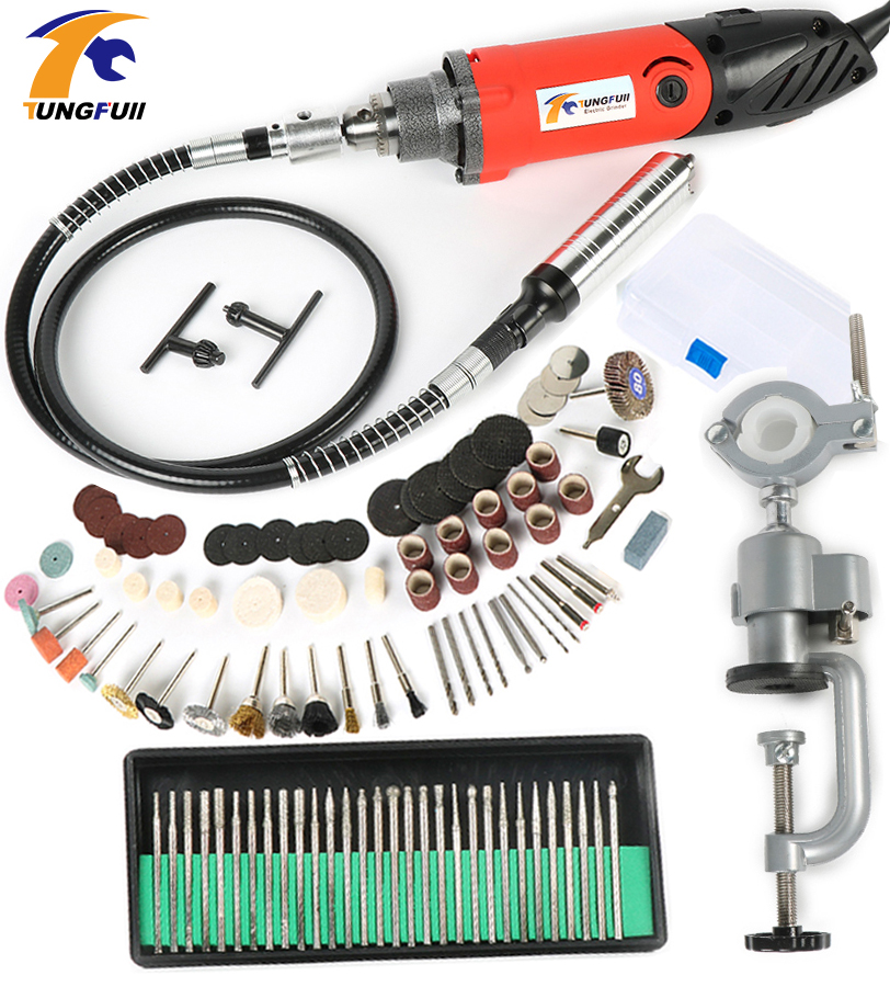 Tungfull Electric Drill rotary tool accessories rotary grinder tool flex shaft drilling machine dremel mini drill variable speed high quality flexible flex shaft fits dremel polishing machine rotary grinder tool for drilling engraving milling grinding