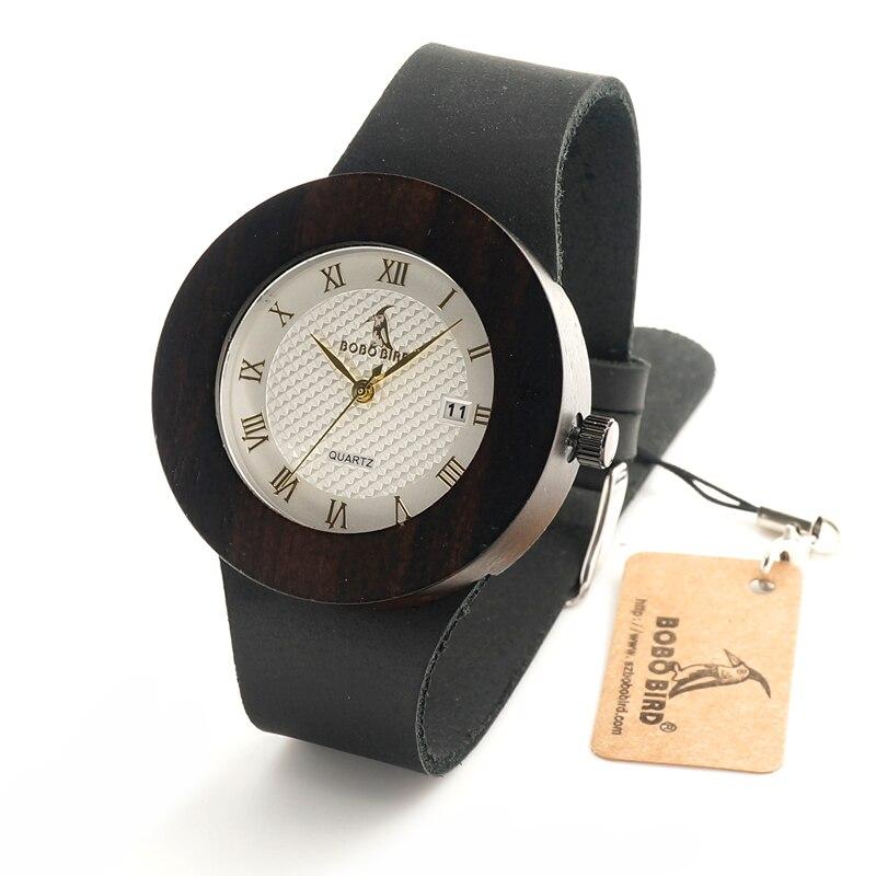 ФОТО BOBO BIRD C02 Wooden Watches for Women Designer Luxury Ebony Wooden Watch with Calendar Dial Japanses Movement Quartz Watches