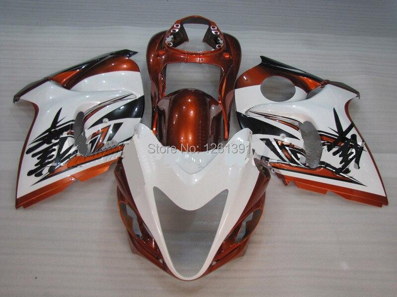 Подходит инъекции orange белый Обтекатели для Suzuki Hayabsa hayabsa 08 09 GSX-R1300 GSXR 1300 2008 2009 наборы обтекателей# 777A