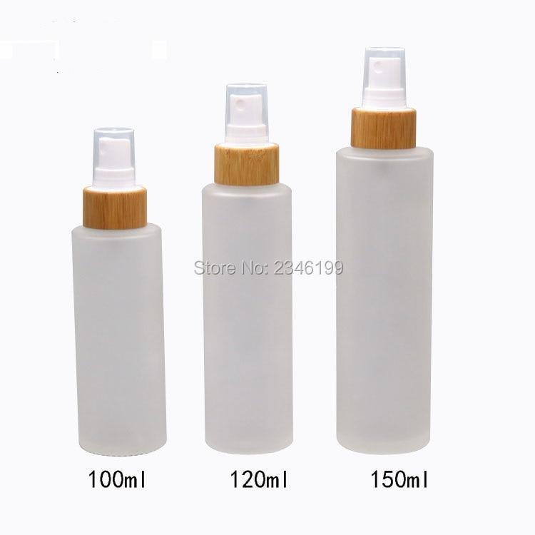 100ML 120ML 150ML Frost Glass Mist Spray Bottle Bamboo Pump Bottles Empty Cosmetic Toner Packaging Bottles