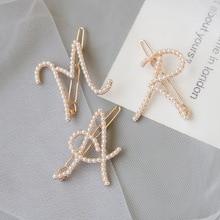 Elegant Womens Letter A M R Pearl Hairpins Korean Sweet Girls Hair Clips Bobby Pins Barrette Clip Accessories Gifts