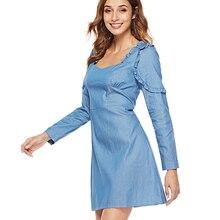 9bd7985b33d31 Mode Denim Jean Kleid 2019 Sommer Elegante Italien Kleider Frauen Langarm  Mini Kleid Casual Rüschen Büro Weibliche Vestidos