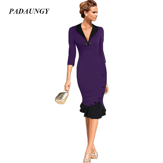 4709e608ea9 PADAUNGY Trumpet Dresses Slim Elegant Office Lady Robe Femme Half Sleeve Bodycon  Dress Wedding Party Vetment Femme Plus Size