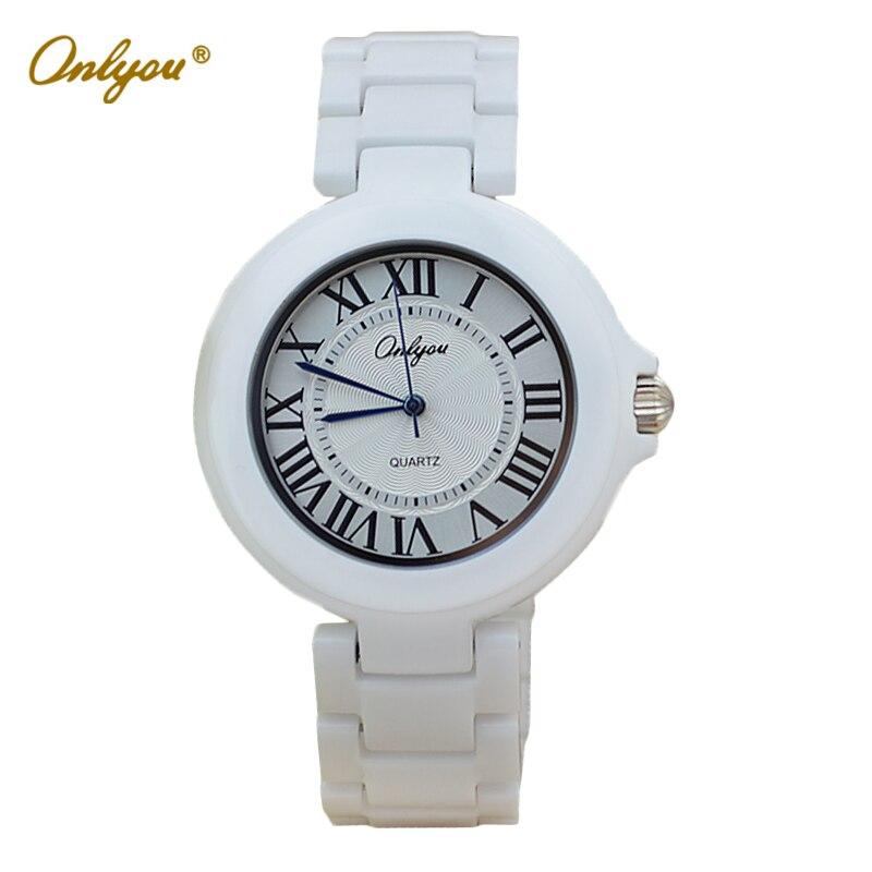 Onlyou Brand White Ceramic Watch Mens Womens 2016 Qua