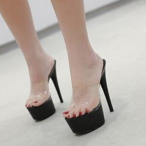 Image 2 - 2019 여름 슬리퍼 6 색 레드 화이트 블랙 여성 플랫폼 신발 섹시한 나이트 클럽 T 무대 쇼 하이힐 15cm 플러스 사이즈 34 41