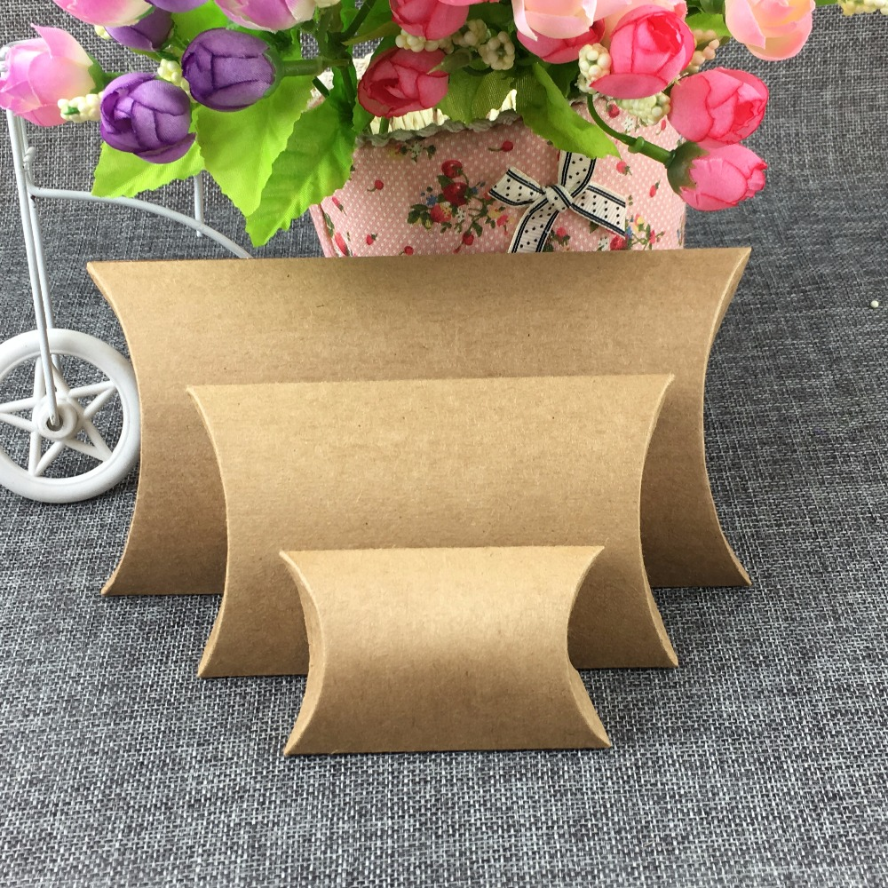 50pcs Paper Pillow Boxes Blank Gift Box Kraft Stroage Box Paper Packing Boxes For Jewelry/crafts/handmade Soap