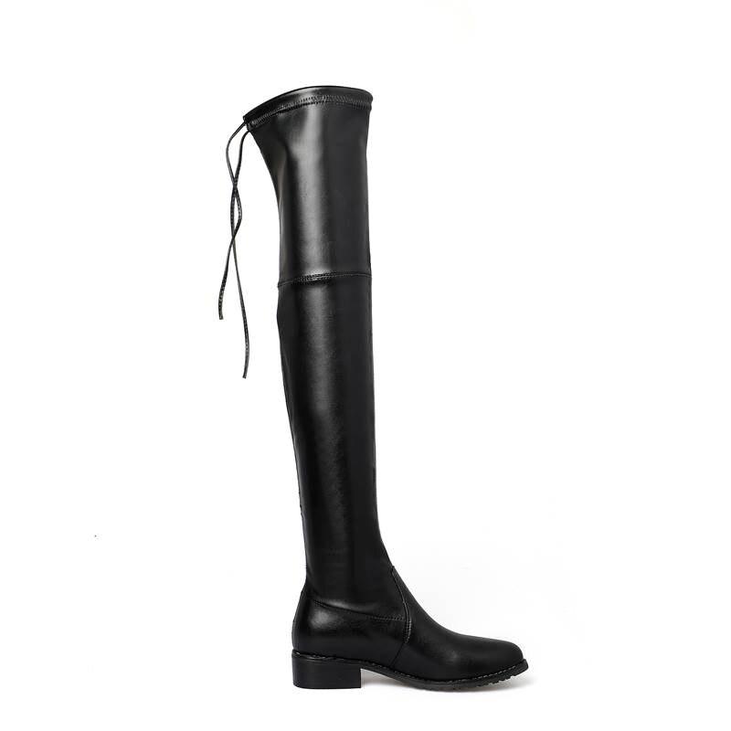 De En Sur 33 Bottes Casual Black Talons Au Smirnova 2018 Suède Bout 43 Mode Genou Leather Des Dentelle Carré Cuir Leather Cow Med black gray Femmes Taille Chaussures Leather Suede x5XqqwzP0