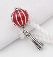 Fits Pandora bracelets 100% 925 Sterling Silver jewelry Lantern pendant with red is enamel charm DIY Wholesale FE3146