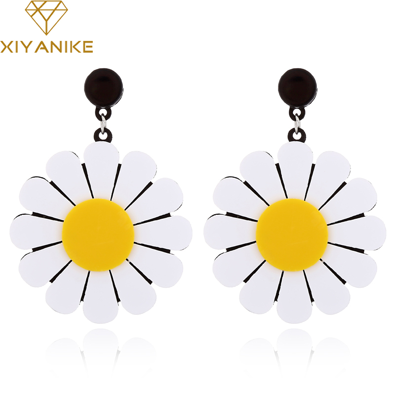 XIYANIKE Drop-Earrings Flower-Sunflower Daisy Acrylic Exaggerated Candy-Color Summer-Style