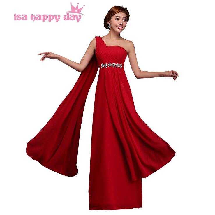 604e3c65ba Grecki styl 2019 new fashion sexy red kobiety jedno ramię strona długa  linia plus rozmiar panna młoda pokojówka sukienka druhna suknie H1999