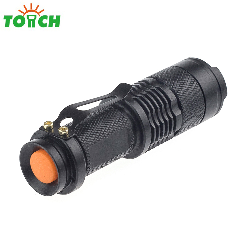 Waterproof CREE Q5 LED MINI Flashlight zoomable 3-mode pocket torch light 14500/AA portable hand lamp emergency lighting cree q5 led pocket flashlight 120lm ipx 6 waterproof torch