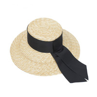 1 pc Spring and summer women's hats straw flat top hats European and American fashion with large eaves shade hats
