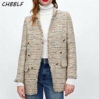 CHBBLF women stylish tweed plaid blazer button decorate tassel long sleeve coat female casual wear loose tops BGB8391
