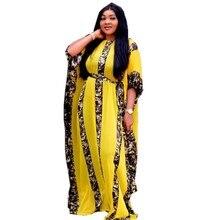 שמלות אפריקאיות נשים דאשיקי נחש ורוד בגדים אפריקאים Bazin ברודר ריש סקסי Slim לפרוע שרוול גלימת ערב ארוך שמלה