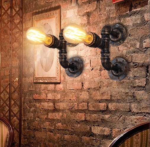 Nordic Loft Style Water Pipe Lamp Industrial Vintage Wall Light Fixtures Edison Wall Sconce Home Lighting Lampara Pared