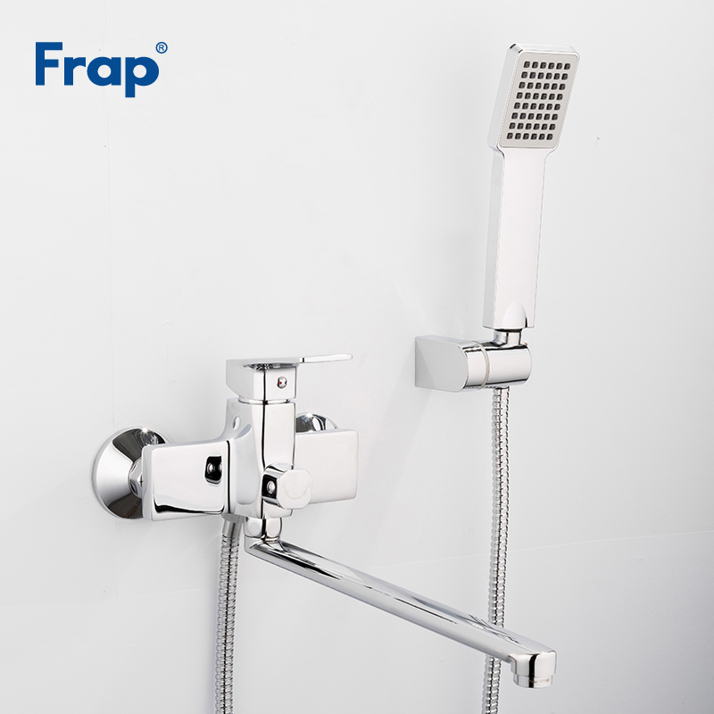 Frap Bathtub Shower Faucet with 345mm Outlet Pipe Bathroom Faucets Water Mixer Tap with Square Shower