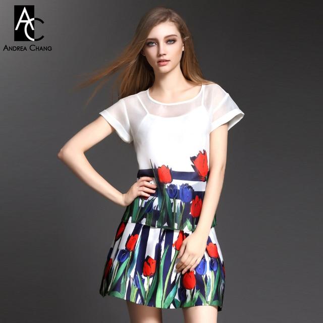 2015 весна лето дизайнер женская одежда набор белый топ с юбкой синий полоса зеленый лист синий красный тюльпан печати модный бренд набор