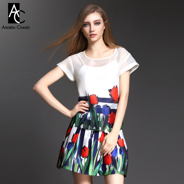 2015 spring summer designer women's clothing set white top skirt blue strip green leaf blue red tulip print fashion brand set