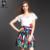 Conjunto de roupas 2015 primavera verão de grife das mulheres branco top saia azul tira de folha verde azul vermelho tulipa impressão marca de moda conjunto