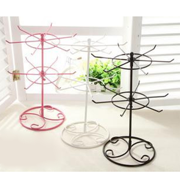 Fashion Double Tier Metal Rotating Jewelry Display Stand Earring Necklace Bracelets Display Holes Holder Rack SL 1pc air compressor valve 1 4 180psi air compressor regulator pressure switch control valve with gauges