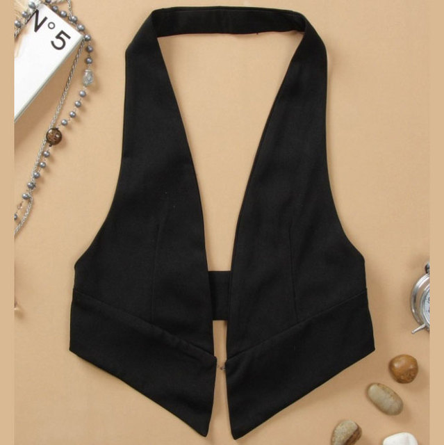 2016 Fashion Women Black WaistCoat Thin Backless Vest Sleeveless Colete Feminino Gilet Femme