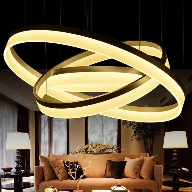 US $37.8 30% di SCONTO|Moda Stile Classico Anello Circolare Lampadario  Acrilico lampada Lampadario LED Luci lampade per soggiorno camera da letto  ...