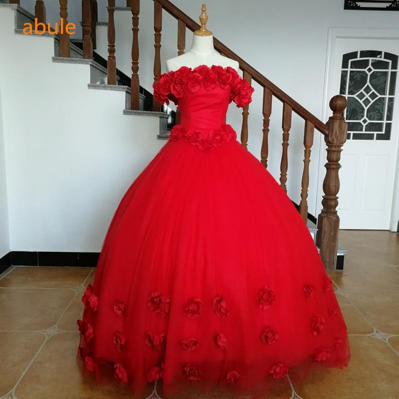 أبو الزهور الحمراء فستان طويل مساء - فساتين المناسبات الخاصة