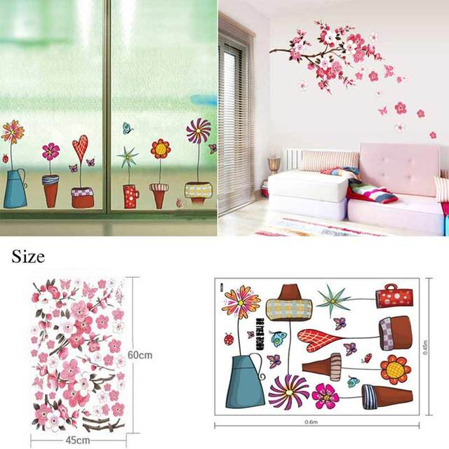 2PC Flower Wall Sticker Bathroom Glass Butterflies Wall Stickers Glasses  Vinyl Wall Decal Kids Room Decor