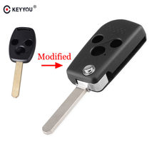 KEYYOU Modificado Para Honda Honda JAZZ ACCORD CIVIC CRV ODYSSEY 3 Botões Virar Folding Car Key Shell Capa Corte/ sem cortes(China)