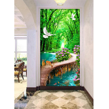 Youran  Vertical Diamond Painting Scenic diy 5d Embroidery Kits Home Decor Mosaic Needlework Decoration
