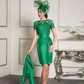 Зеленый Elgant Кружева мама Невесты Платья с Курткой 2017 Плюс Размер Атласная Оболочка Колен Свадьба для Торжеств и Вечеринок платья