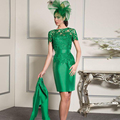 Green Elgant Lace Mother of The Bride Dresses with Jacket 2017 Plus Size Satin Sheath Knee Length Wedding Evening Party Dresses
