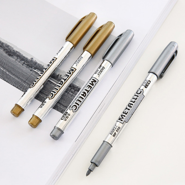 1pc Gold Silver Color Metallic Marker Pens For Diy Album