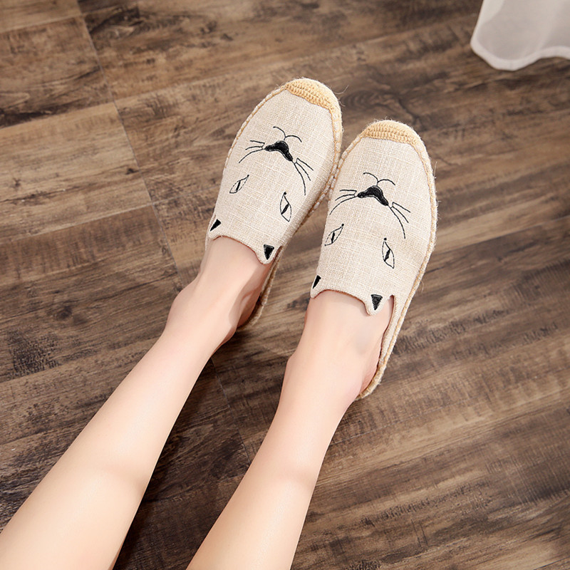 2019 Summer New Female Embroidery Cats Sippers Round Toe Lady Flat Espadrilles Slide Fisherman Shoes Slip On Women Beach Sandals (12)