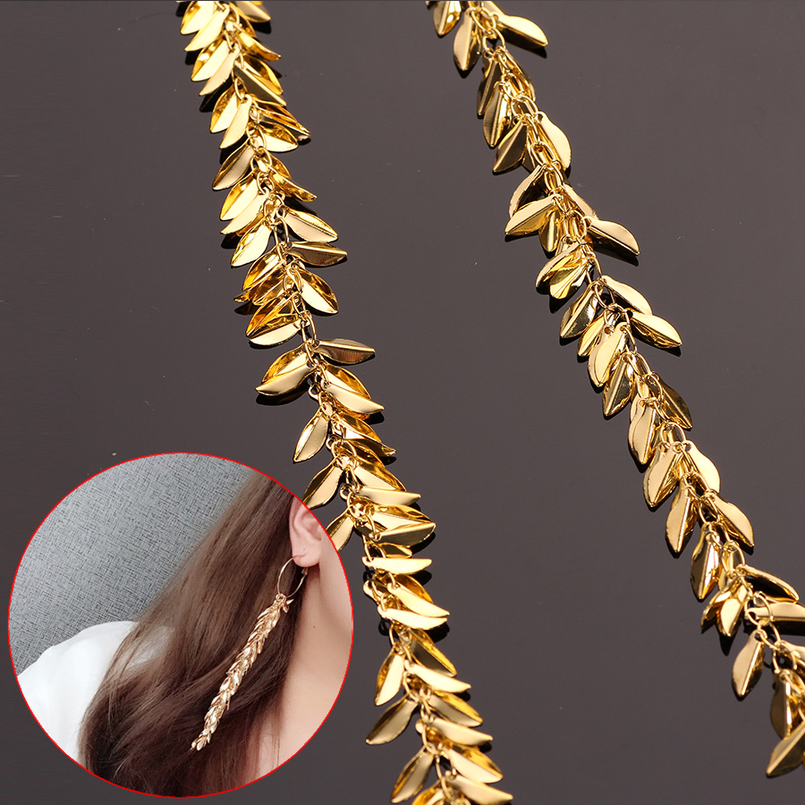 50cm/lots Golden Metal Filigree Leaf Chains Tassels For Necklace Long Dangle Earrings Costume Boho Jewelry Making Diy Accessory