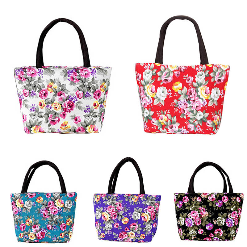 Simple Fashion Women Messenger Bags Canvas Flowers Printed Zipped Girls Handbag Ladies Shoulder Bag Big Capacity Best S