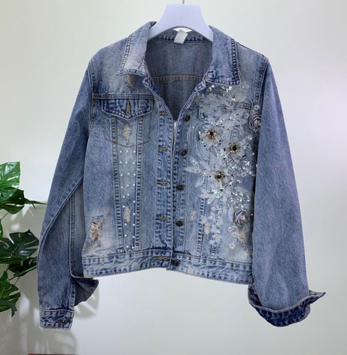 2019 femmes mode lourd perles en trois dimensions fleur trou denim veste femme basique Jeans veste courte veste