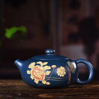 Yixing recommended quality goods all hand chlorite clay ore ink painting peony bian xi shi kung fu tea set the teapot